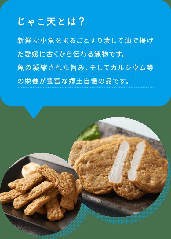 じゃこ天とは?新鮮な小魚をまるごとすり潰して油で揚げた愛媛に古くから伝わる練物です。魚の凝縮された旨み、そしてカルシウム等の栄養が豊富な郷土自慢の品です。